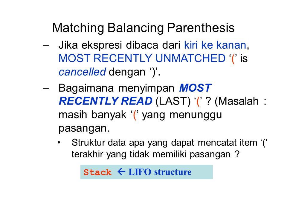 Matching Balancing Parenthesis –Jika ekspresi dibaca dari kiri ke kanan, MOST RECENTLY UNMATCHED '(' is cancelled dengan ')'. –Bagaimana menyimpan MOS