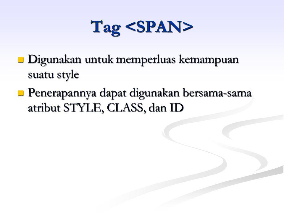 Tag Tag Digunakan untuk memperluas kemampuan suatu style Digunakan untuk memperluas kemampuan suatu style Penerapannya dapat digunakan bersama-sama atribut STYLE, CLASS, dan ID Penerapannya dapat digunakan bersama-sama atribut STYLE, CLASS, dan ID