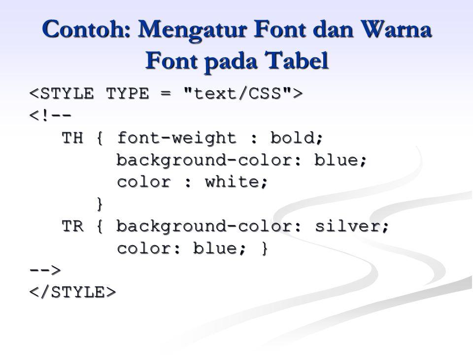 Contoh: Mengatur Font dan Warna Font pada Tabel <!-- TH { font-weight : bold; TH { font-weight : bold; background-color: blue; background-color: blue; color : white; color : white; } TR { background-color: silver; TR { background-color: silver; color: blue; } color: blue; }--></STYLE>
