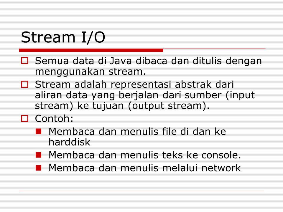 Stream I/O  Semua data di Java dibaca dan ditulis dengan menggunakan stream.  Stream adalah representasi abstrak dari aliran data yang berjalan dari