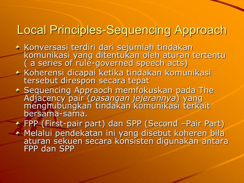 Local Principles-Sequencing Approach Konversasi terdiri dari sejumlah tindakan komunikasi yang ditentukan oleh aturan tertentu ( a series of rule-gove