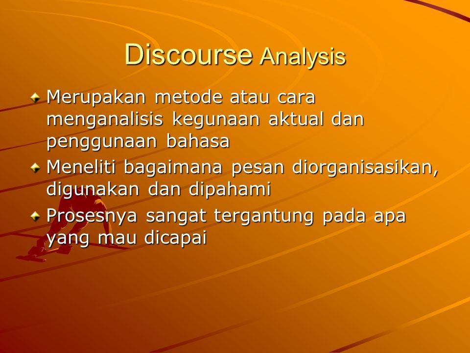 Discourse Analysis Merupakan metode atau cara menganalisis kegunaan aktual dan penggunaan bahasa Meneliti bagaimana pesan diorganisasikan, digunakan dan dipahami Prosesnya sangat tergantung pada apa yang mau dicapai