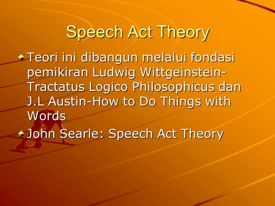 Speech Act Theory Teori ini dibangun melalui fondasi pemikiran Ludwig Wittgeinstein- Tractatus Logico Philosophicus dan J.L Austin-How to Do Things with Words John Searle: Speech Act Theory