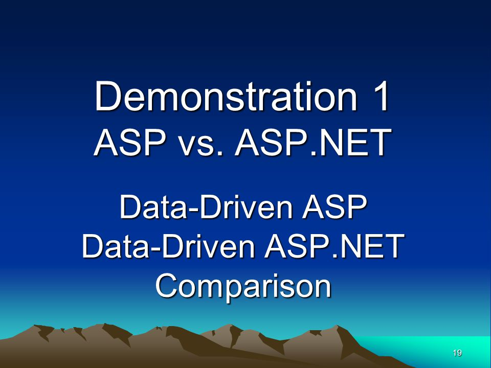 19 Demonstration 1 ASP vs. ASP.NET Data-Driven ASP Data-Driven ASP.NET Comparison