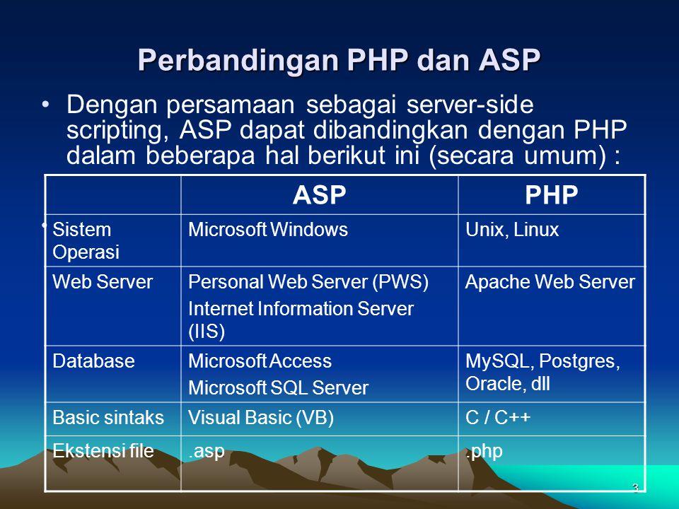 3 Perbandingan PHP dan ASP Dengan persamaan sebagai server-side scripting, ASP dapat dibandingkan dengan PHP dalam beberapa hal berikut ini (secara um