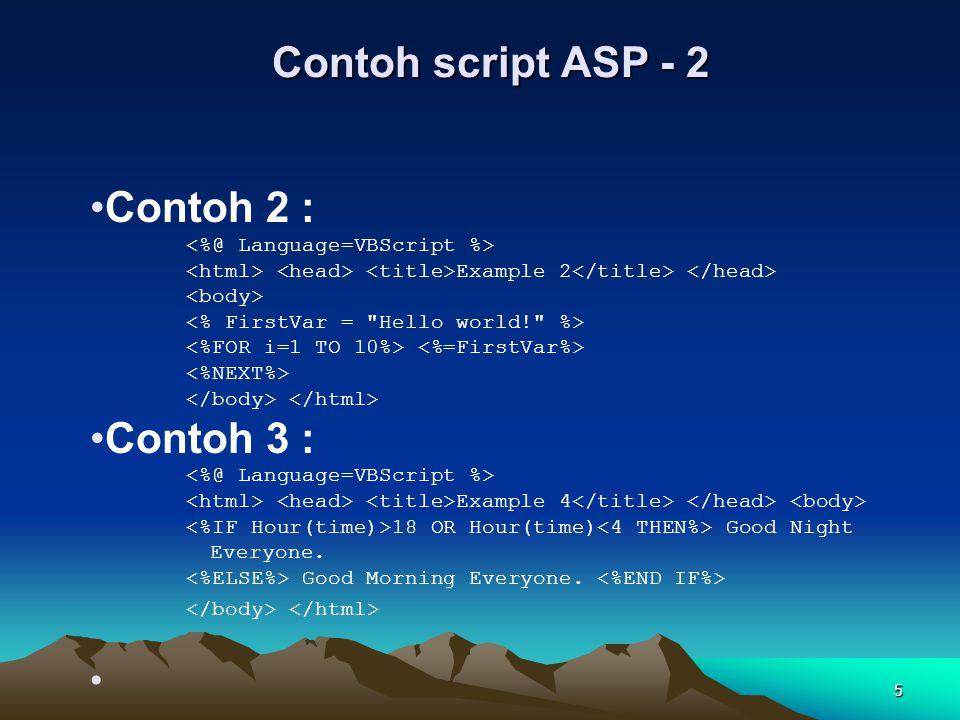 6 Perkembangan ASP Saat ASP ver 3.0 diluncurkan, programmer menemukan banyak hal yang mempermudah proses pembuatan program.