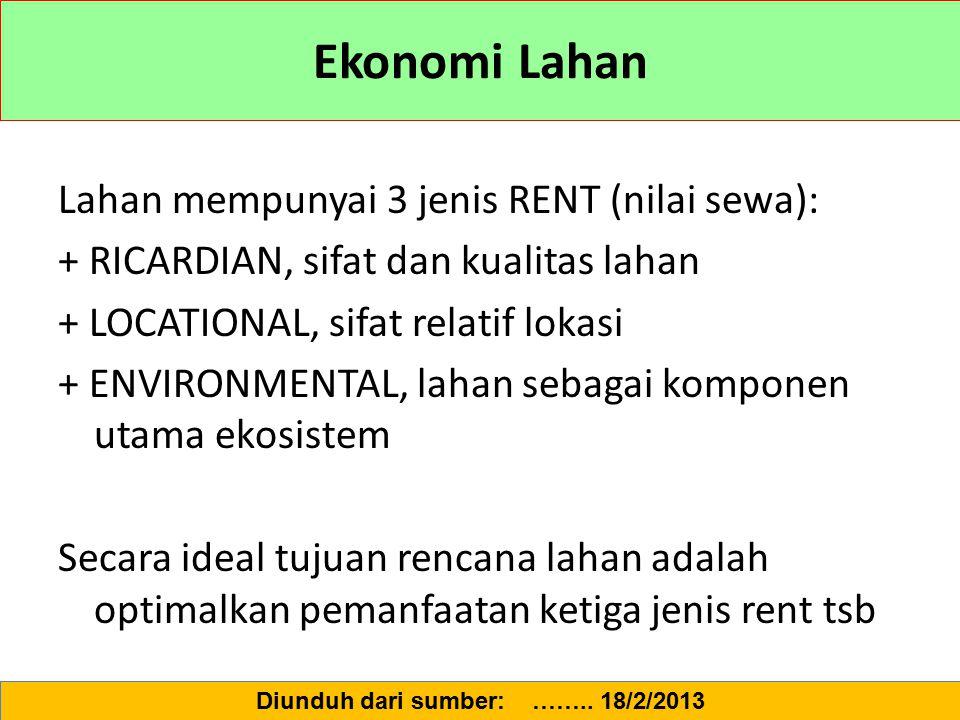 Ekonomi Lahan Lahan mempunyai 3 jenis RENT (nilai sewa): + RICARDIAN, sifat dan kualitas lahan + LOCATIONAL, sifat relatif lokasi + ENVIRONMENTAL, lah