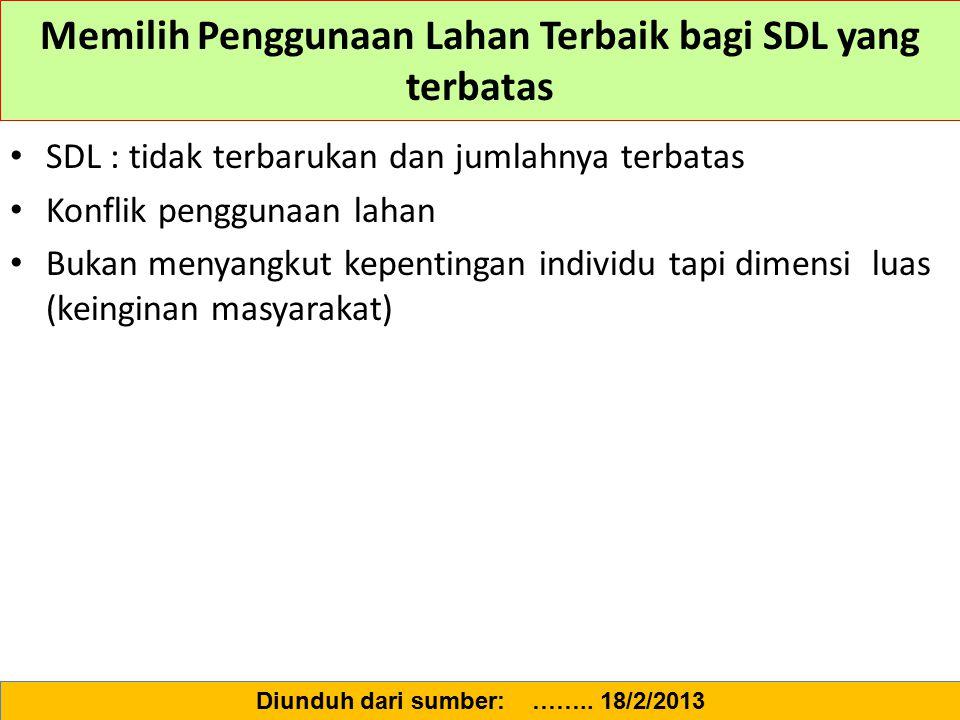 Memilih Penggunaan Lahan Terbaik bagi SDL yang terbatas SDL : tidak terbarukan dan jumlahnya terbatas Konflik penggunaan lahan Bukan menyangkut kepent