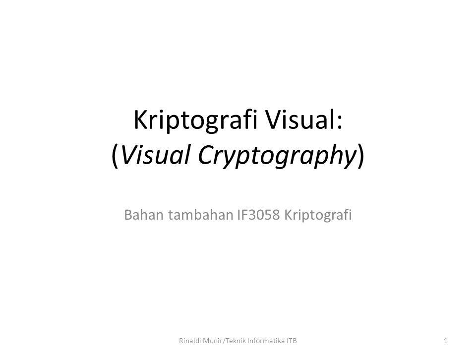 2 Pendahuluan Diperkenalkan Moni Naor dan Adi Shamir dalam jurnal Eurocrypt'94 Khusus untuk enkripsi gambar/citra Enkripsi dilakukan dengan membagi citra menjadi sejumlah bagian (share) Tidak membutuhkan komputasi untuk dekripsi gambar, cukup indera visual manusia.