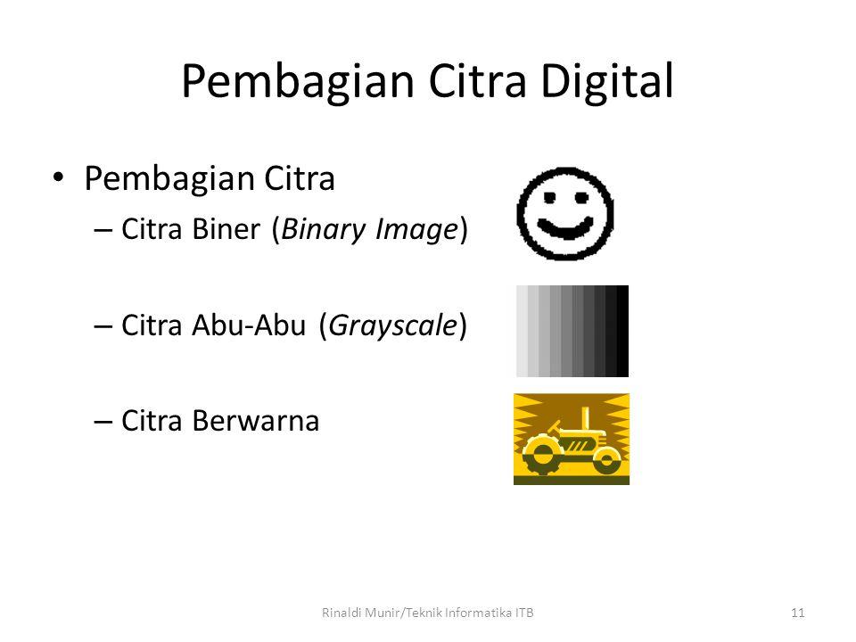 11 Pembagian Citra Digital Pembagian Citra – Citra Biner (Binary Image) – Citra Abu-Abu (Grayscale) – Citra Berwarna Rinaldi Munir/Teknik Informatika