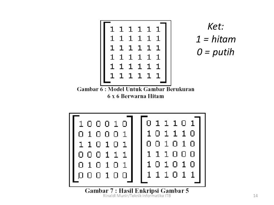 14 Ket: 1 = hitam 0 = putih Rinaldi Munir/Teknik Informatika ITB