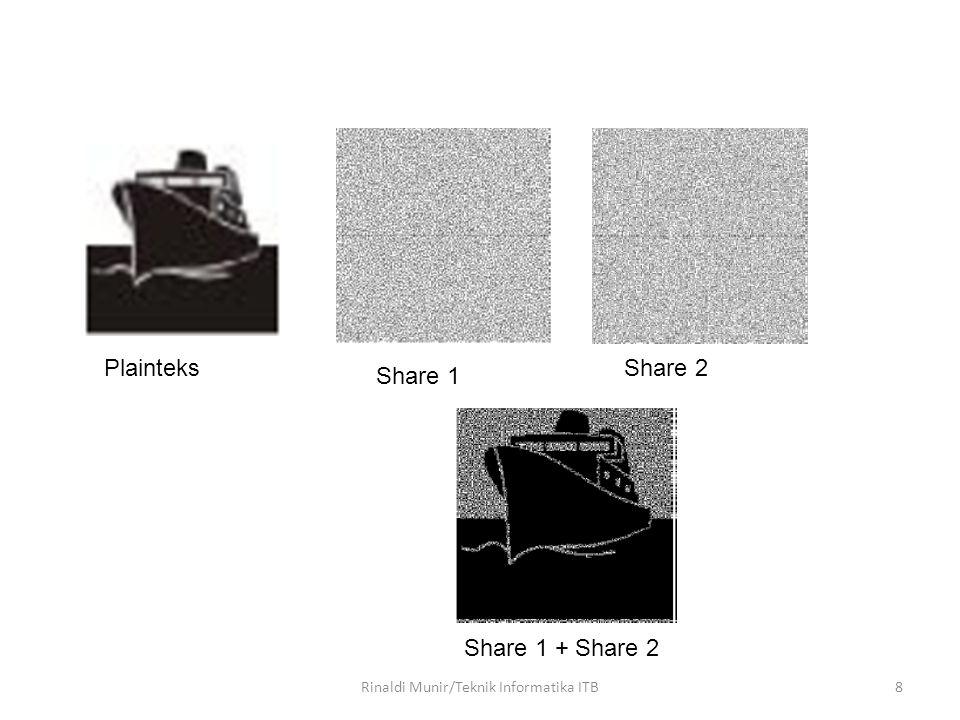 19 Skema Skema (n,n) – Citra dibagi menjadi n buah share, di mana untuk mendekripsi citra diperlukan n buah share tersebut.