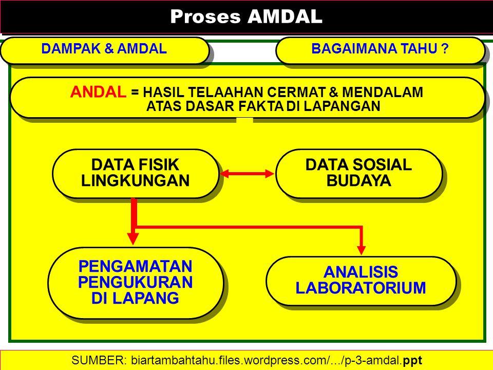 Proses AMDAL Proses AMDAL DAMPAK & AMDAL ANDAL = HASIL TELAAHAN CERMAT & MENDALAM ATAS DASAR FAKTA DI LAPANGAN ANDAL = HASIL TELAAHAN CERMAT & MENDALA