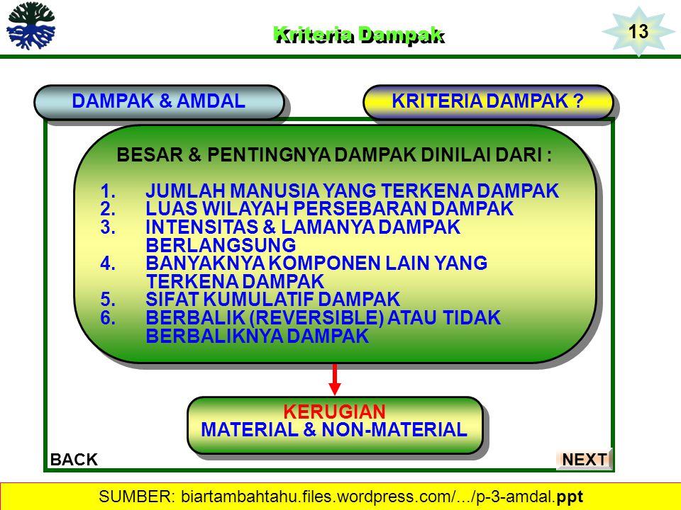 Kriteria Dampak Kriteria Dampak DAMPAK & AMDAL BACK BESAR & PENTINGNYA DAMPAK DINILAI DARI : 1.JUMLAH MANUSIA YANG TERKENA DAMPAK 2.LUAS WILAYAH PERSE