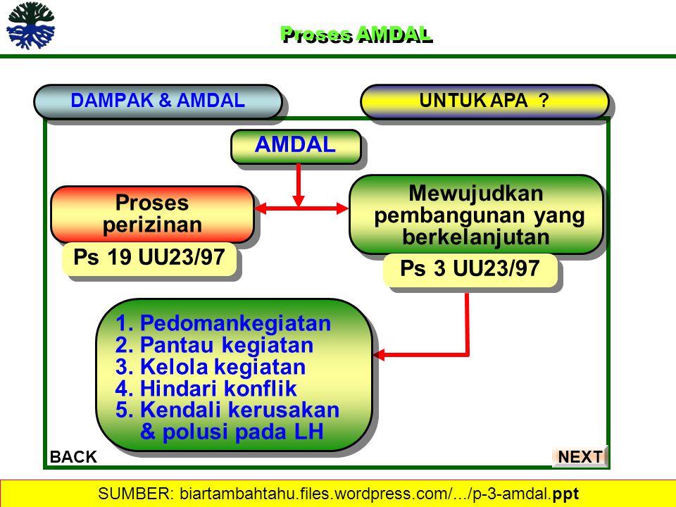 Proses AMDAL Proses AMDAL DAMPAK & AMDAL BACK UNTUK APA ? AMDAL Proses perizinan Proses perizinan Mewujudkan pembangunan yang berkelanjutan Mewujudkan