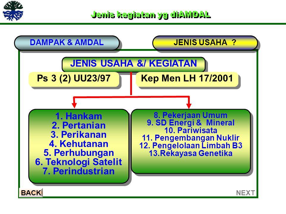 Jenis kegiatan yg diAMDAL Jenis kegiatan yg diAMDAL DAMPAK & AMDAL BACK JENIS USAHA ? JENIS USAHA &/ KEGIATAN Ps 3 (2) UU23/97 1. Hankam 2. Pertanian