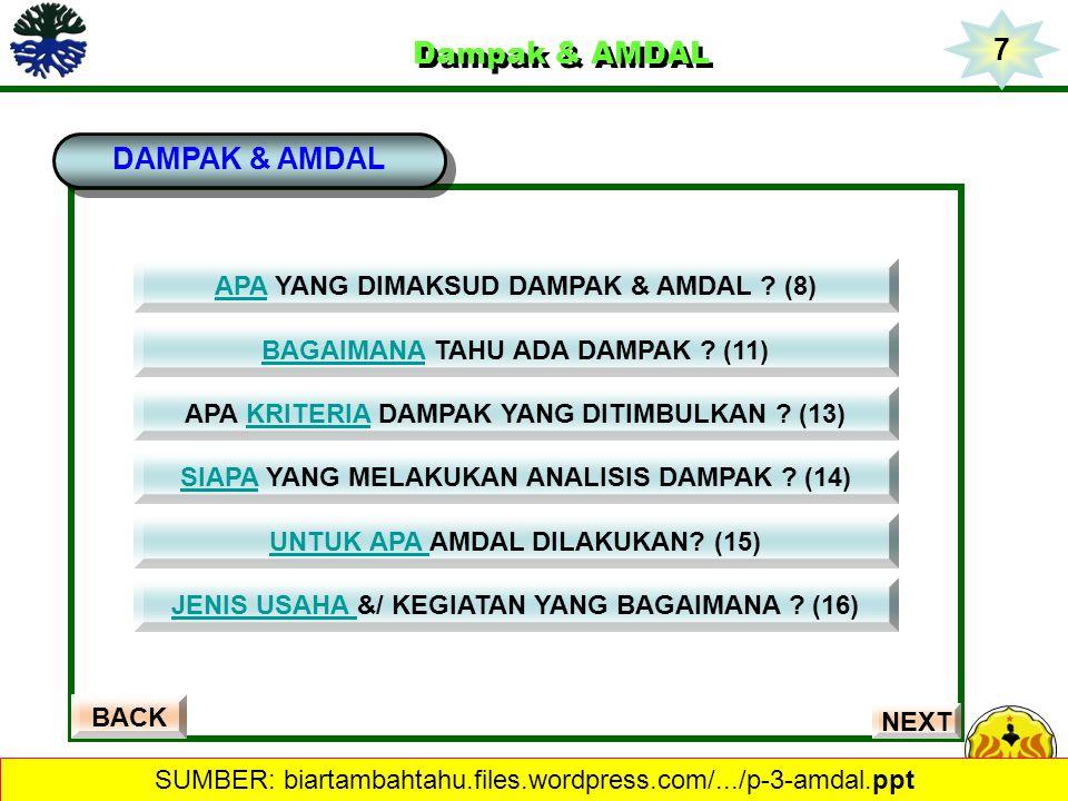 Dampak & AMDAL Dampak & AMDAL DAMPAK & AMDAL BACK APAAPA YANG DIMAKSUD DAMPAK & AMDAL ? (8) BAGAIMANABAGAIMANA TAHU ADA DAMPAK ? (11) SIAPASIAPA YANG