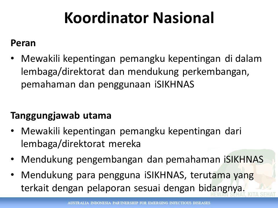 AUSTRALIA INDONESIA PARTNERSHIP FOR EMERGING INFECTIOUS DISEASES Koordinator Nasional Peran Mewakili kepentingan pemangku kepentingan di dalam lembaga