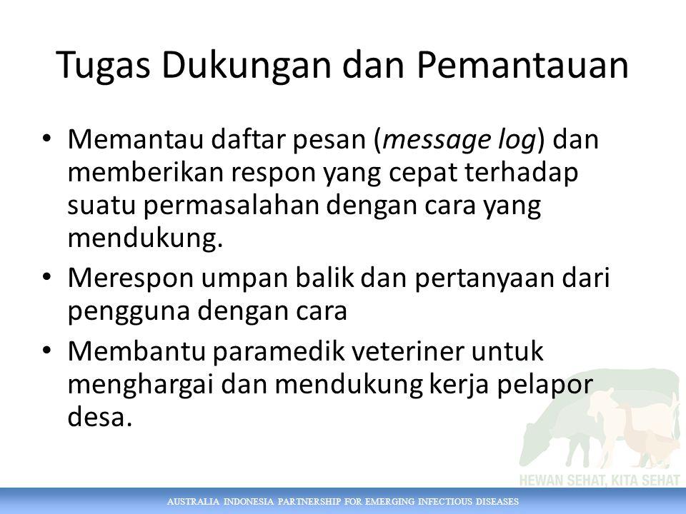 AUSTRALIA INDONESIA PARTNERSHIP FOR EMERGING INFECTIOUS DISEASES Tugas Dukungan dan Pemantauan Memantau daftar pesan (message log) dan memberikan respon yang cepat terhadap suatu permasalahan dengan cara yang mendukung.