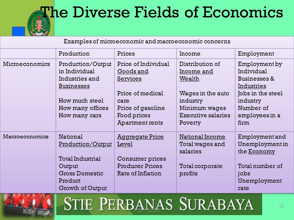 Microeconomics & Macroeconomics u Microeconomics focuses on the individual parts of the economy. uBagaimana Household dan Firm mengambil keputusan dan