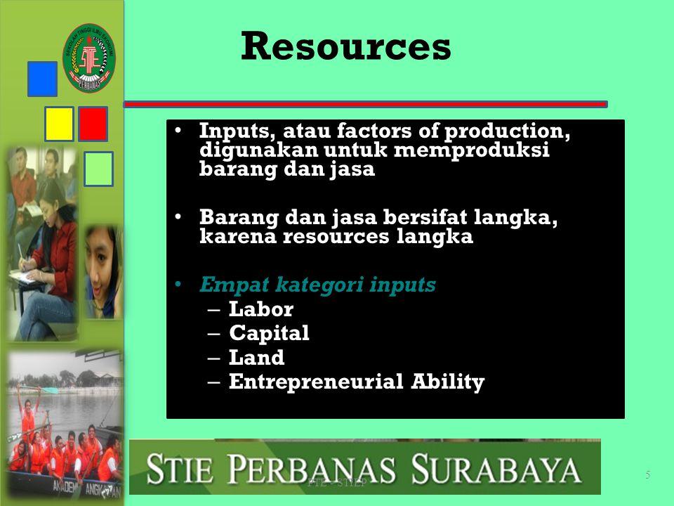 The Economic Problem Masalah ekonomi dasar adalah wants bersifat unlimited – Sementara resources bersifat scarce Resource are scarce : tidak tersedia