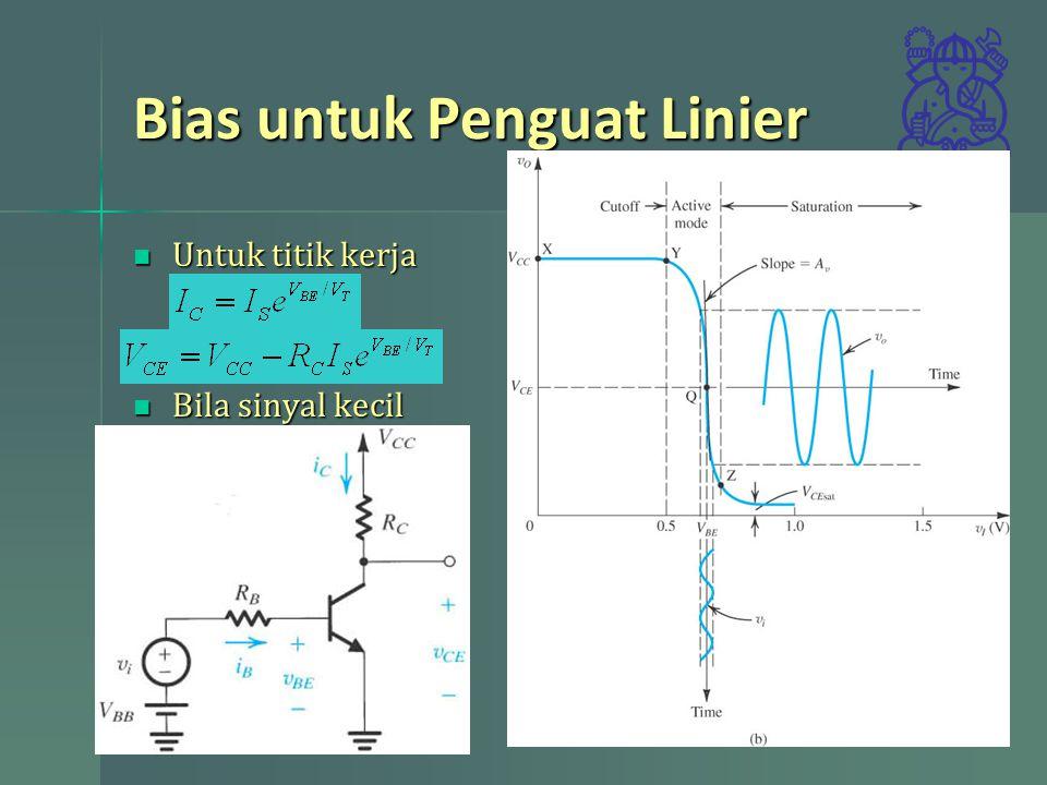 Bias untuk Penguat Linier Untuk titik kerja Untuk titik kerja Bila sinyal kecil ditumpangkan Bila sinyal kecil ditumpangkan