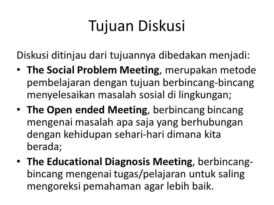 Tujuan Diskusi Diskusi ditinjau dari tujuannya dibedakan menjadi: The Social Problem Meeting, merupakan metode pembelajaran dengan tujuan berbincang-b