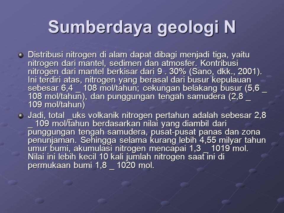 Sumberdaya geologi N Distribusi nitrogen di alam dapat dibagi menjadi tiga, yaitu nitrogen dari mantel, sedimen dan atmosfer. Kontribusi nitrogen dari