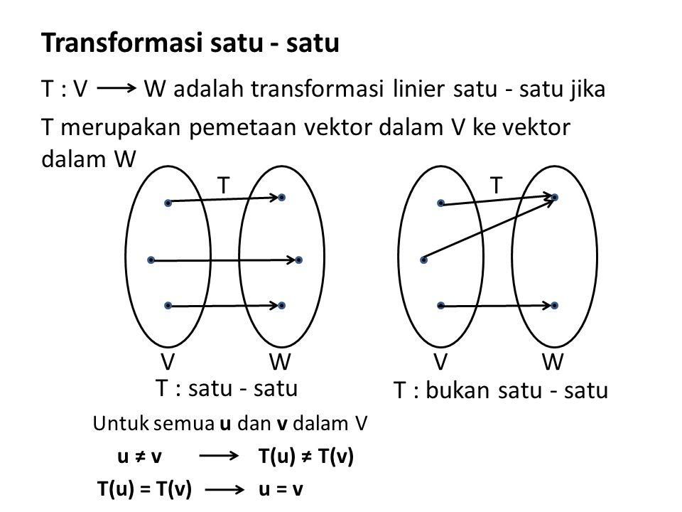 Transformasi satu - satu T : V T merupakan pemetaan vektor dalam V ke vektor dalam W T : satu - satu Untuk semua u dan v dalam V u ≠ v T(u) ≠ T(v) T(u) = T(v) u = v W adalah transformasi linier satu - satu jika T WV T WV T : bukan satu - satu