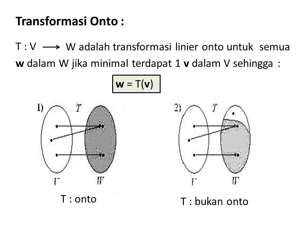 Transformasi Onto : T : V w dalam W jika minimal terdapat 1 v dalam V sehingga : W adalah transformasi linier onto untuk semua T : onto T : bukan onto w = T(v)