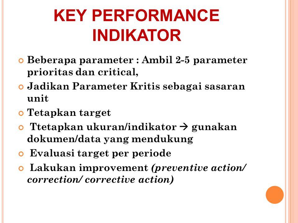 KEY PERFORMANCE INDIKATOR Beberapa parameter : Ambil 2-5 parameter prioritas dan critical, Jadikan Parameter Kritis sebagai sasaran unit Tetapkan targ