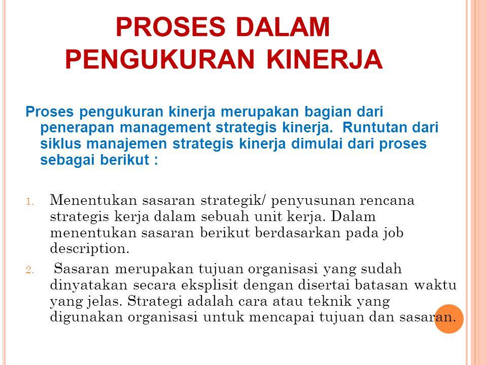 PROSES DALAM PENGUKURAN KINERJA Proses pengukuran kinerja merupakan bagian dari penerapan management strategis kinerja. Runtutan dari siklus manajemen