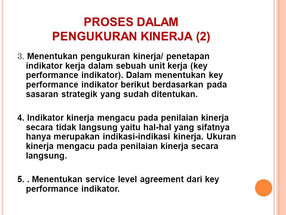 PROSES DALAM PENGUKURAN KINERJA (2) 3. Menentukan pengukuran kinerja/ penetapan indikator kerja dalam sebuah unit kerja (key performance indikator). D