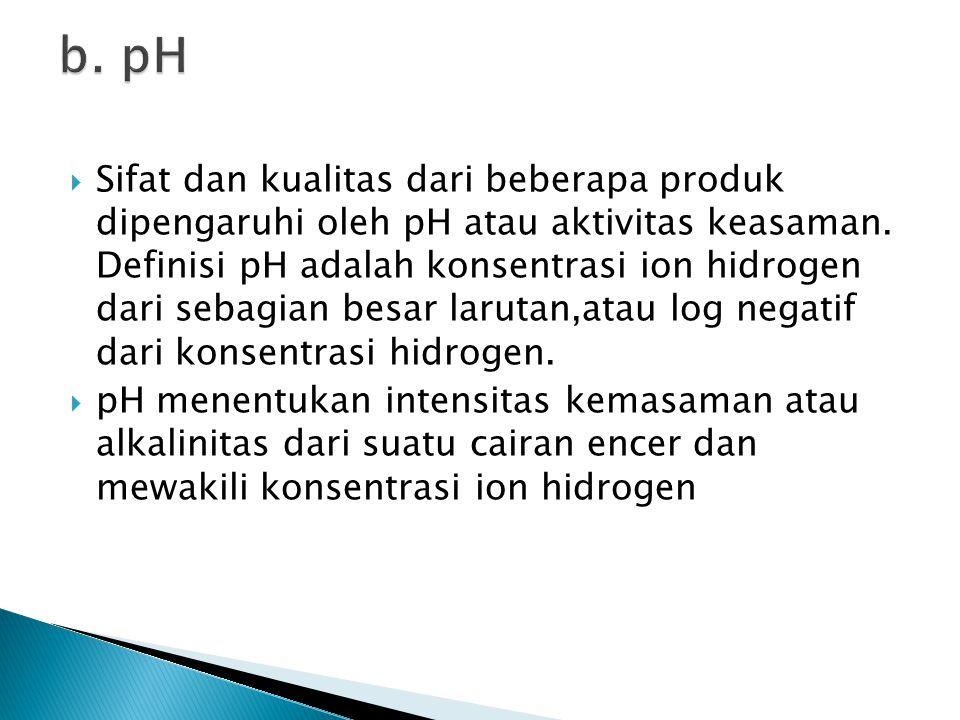  Sifat dan kualitas dari beberapa produk dipengaruhi oleh pH atau aktivitas keasaman. Definisi pH adalah konsentrasi ion hidrogen dari sebagian besar