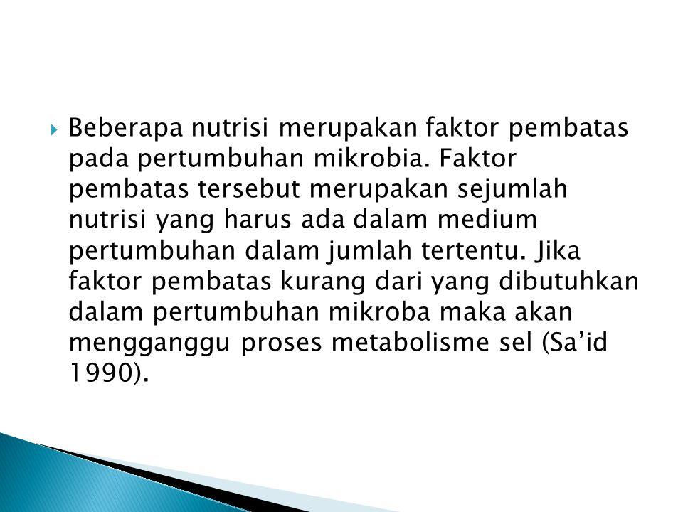  Beberapa nutrisi merupakan faktor pembatas pada pertumbuhan mikrobia. Faktor pembatas tersebut merupakan sejumlah nutrisi yang harus ada dalam mediu