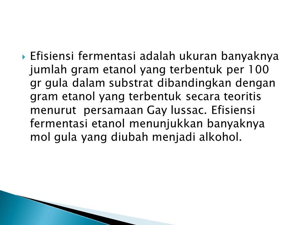 Efisiensi fermentasi adalah ukuran banyaknya jumlah gram etanol yang terbentuk per 100 gr gula dalam substrat dibandingkan dengan gram etanol yang terbentuk secara teoritis menurut persamaan Gay lussac.