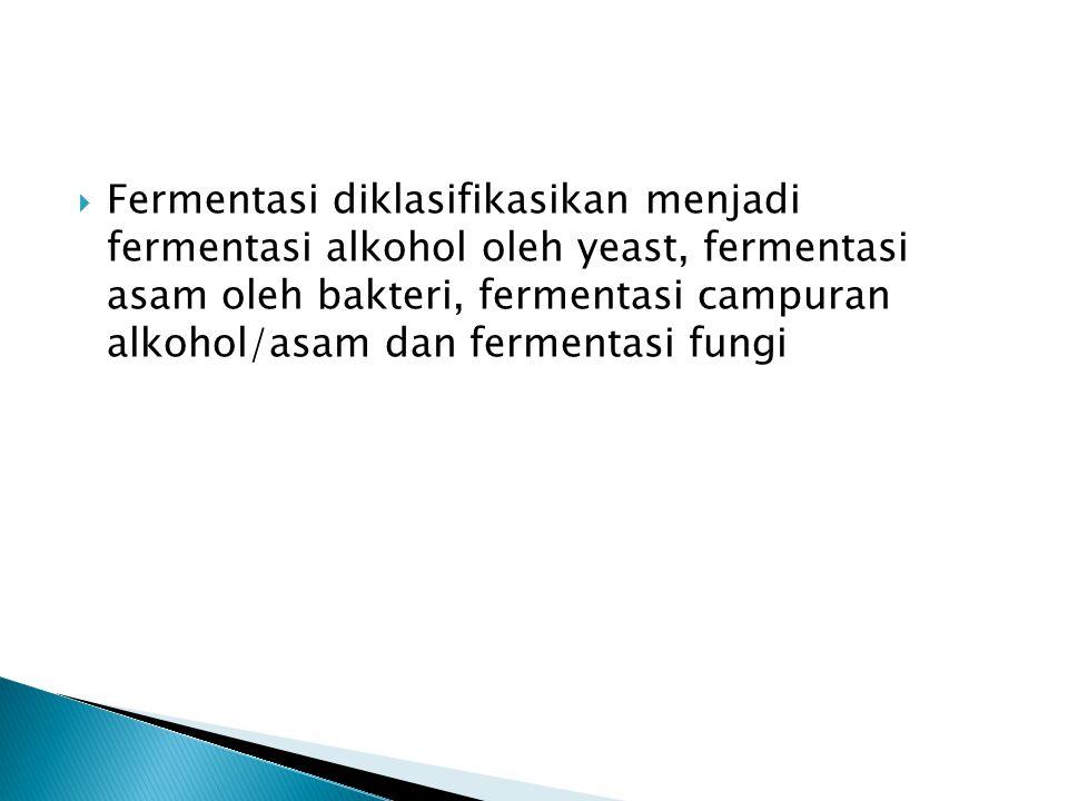  Fermentasi diklasifikasikan menjadi fermentasi alkohol oleh yeast, fermentasi asam oleh bakteri, fermentasi campuran alkohol/asam dan fermentasi fun