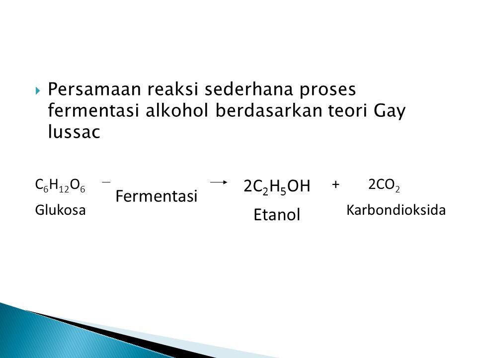  Persamaan reaksi sederhana proses fermentasi alkohol berdasarkan teori Gay lussac C 6 H 12 O 6 Glukosa + 2CO 2 Karbondioksida 2C 2 H 5 OH Etanol Fermentasi