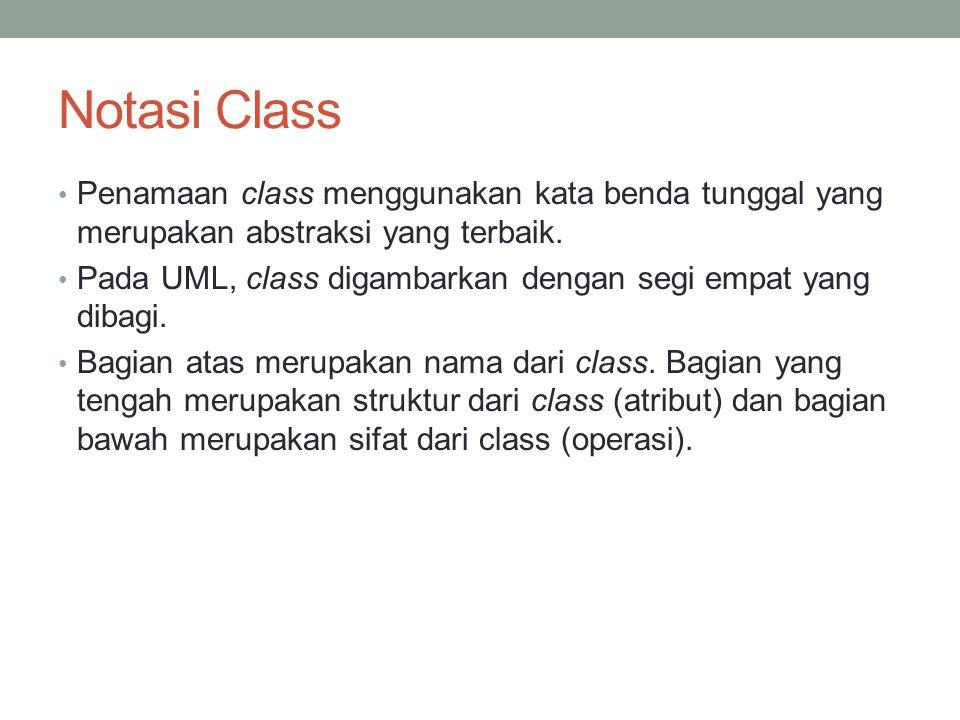 Notasi Class Penamaan class menggunakan kata benda tunggal yang merupakan abstraksi yang terbaik. Pada UML, class digambarkan dengan segi empat yang d