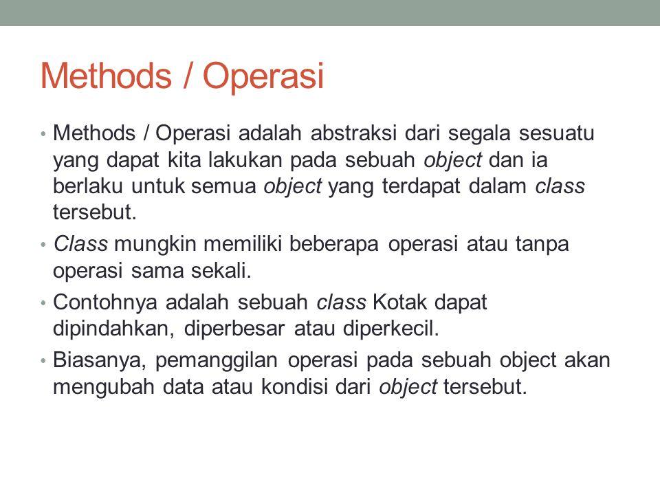 Methods / Operasi Methods / Operasi adalah abstraksi dari segala sesuatu yang dapat kita lakukan pada sebuah object dan ia berlaku untuk semua object