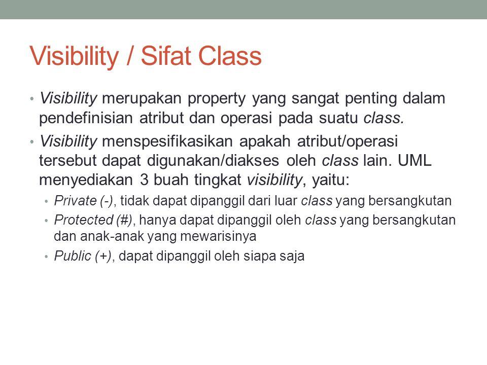 Visibility / Sifat Class Visibility merupakan property yang sangat penting dalam pendefinisian atribut dan operasi pada suatu class. Visibility menspe