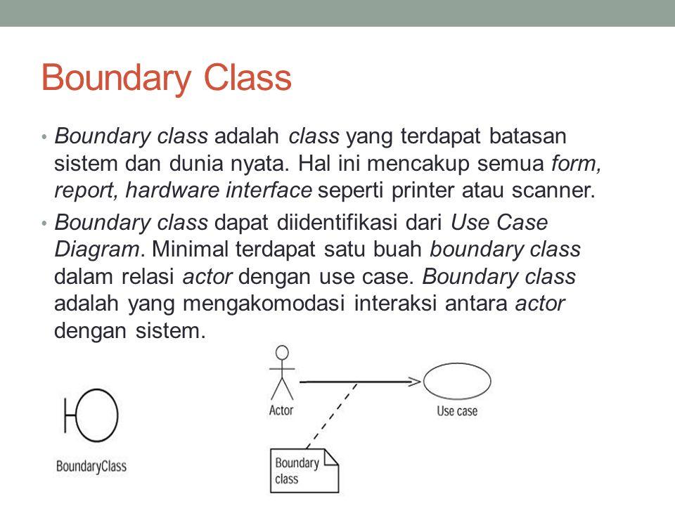 Boundary Class Boundary class adalah class yang terdapat batasan sistem dan dunia nyata. Hal ini mencakup semua form, report, hardware interface seper
