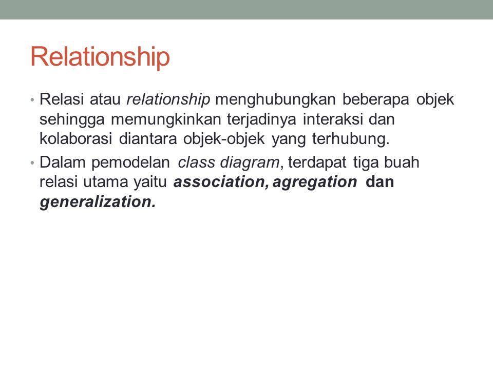 Relationship Relasi atau relationship menghubungkan beberapa objek sehingga memungkinkan terjadinya interaksi dan kolaborasi diantara objek-objek yang