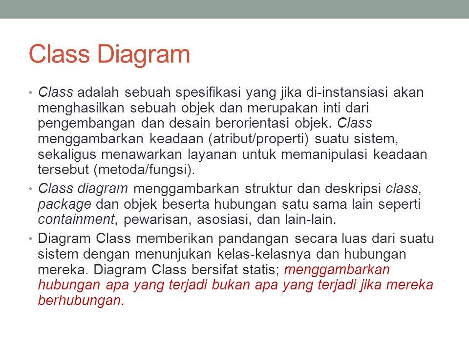 Class Diagram Class adalah sebuah spesifikasi yang jika di-instansiasi akan menghasilkan sebuah objek dan merupakan inti dari pengembangan dan desain