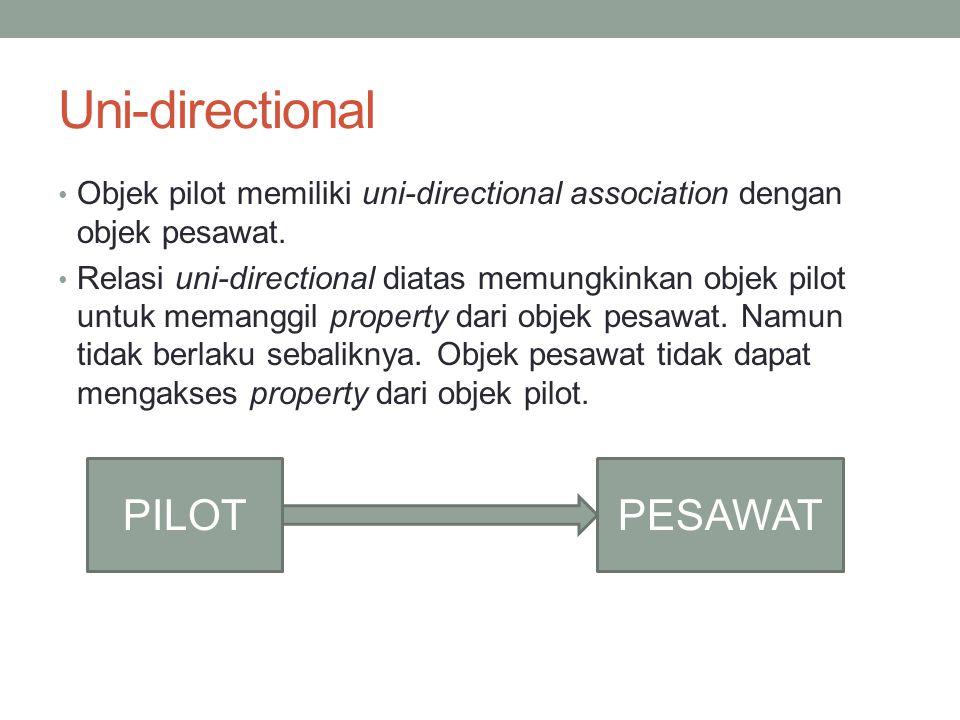 Uni-directional Objek pilot memiliki uni-directional association dengan objek pesawat. Relasi uni-directional diatas memungkinkan objek pilot untuk me