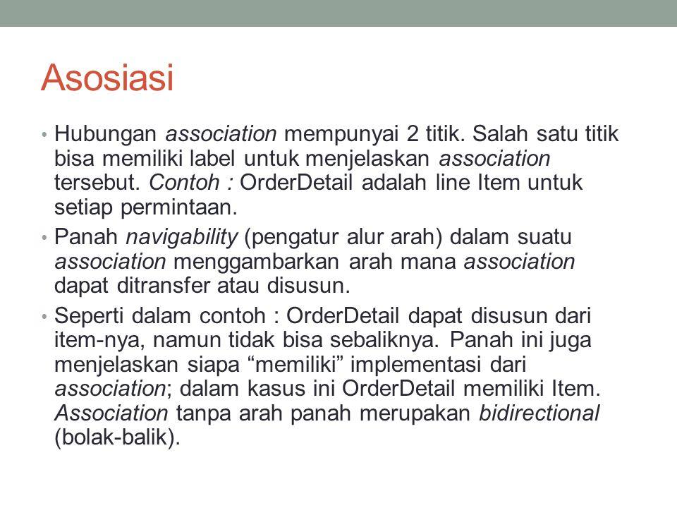 Asosiasi Hubungan association mempunyai 2 titik. Salah satu titik bisa memiliki label untuk menjelaskan association tersebut. Contoh : OrderDetail ada