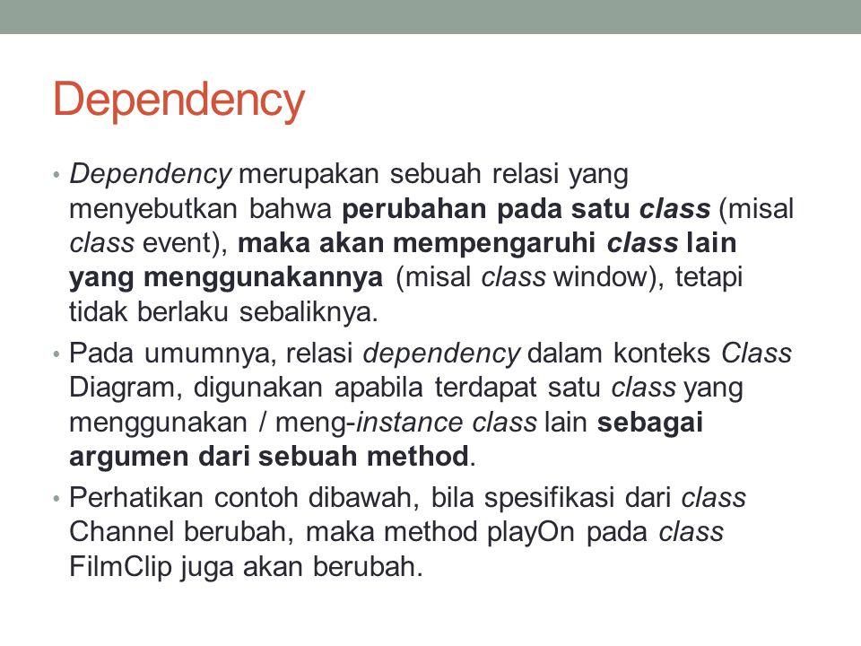 Dependency Dependency merupakan sebuah relasi yang menyebutkan bahwa perubahan pada satu class (misal class event), maka akan mempengaruhi class lain
