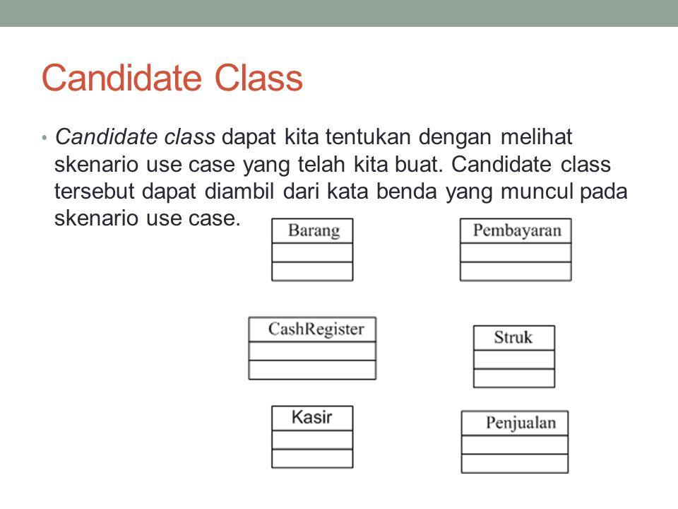 Candidate Class Candidate class dapat kita tentukan dengan melihat skenario use case yang telah kita buat. Candidate class tersebut dapat diambil dari