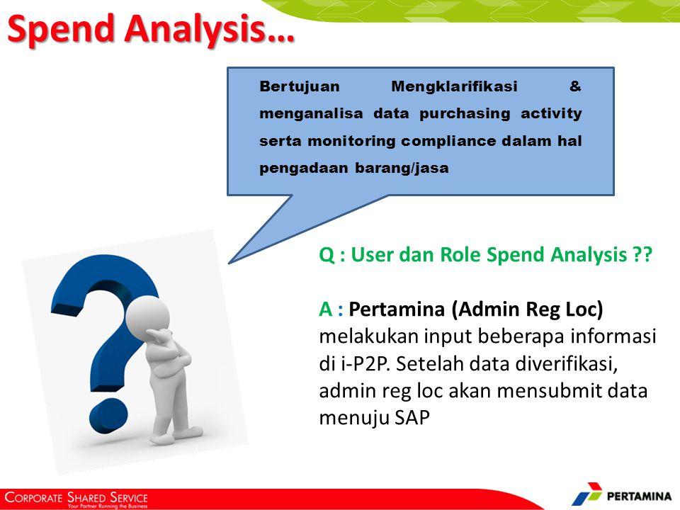 Bertujuan Mengklarifikasi & menganalisa data purchasing activity serta monitoring compliance dalam hal pengadaan barang/jasa Q : User dan Role Spend Analysis ?.