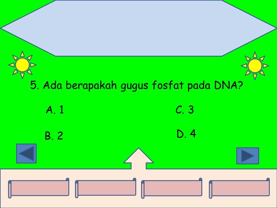 5. Ada berapakah gugus fosfat pada DNA? A. 1 B. 2 C. 3 D. 4